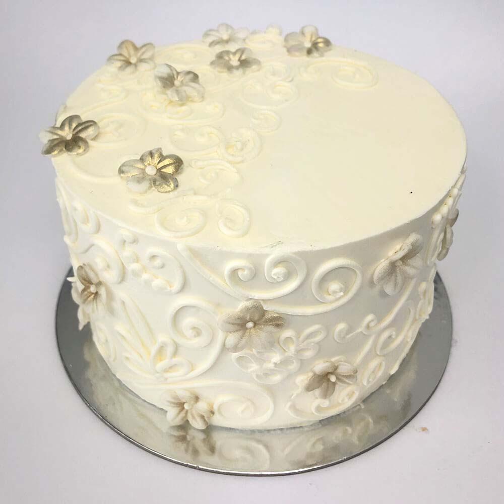 White Swirl- gold flowers