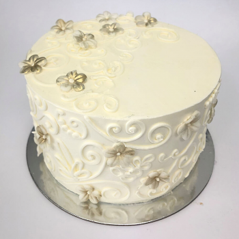 White Swirl- gold flowers